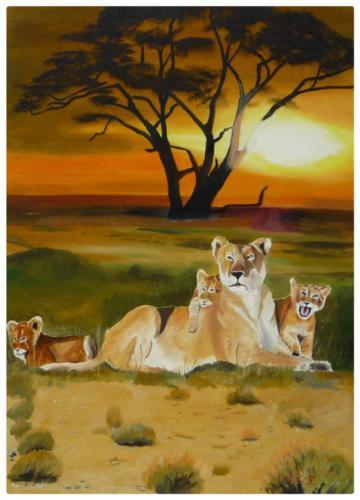 Löwin mit ihen Kindern