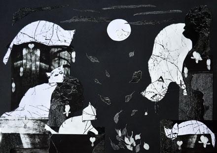 'Fünf Katzen und ein Mond' von  antje menzel