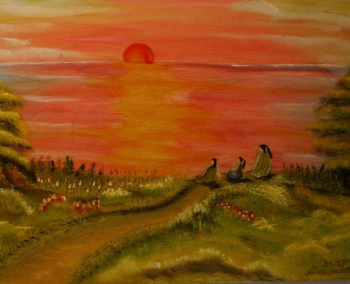 Drei Mädchen am roten See