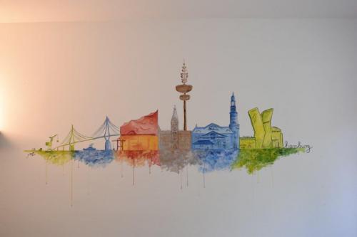 'Hamburger Skyline in bunt' von  ansehen