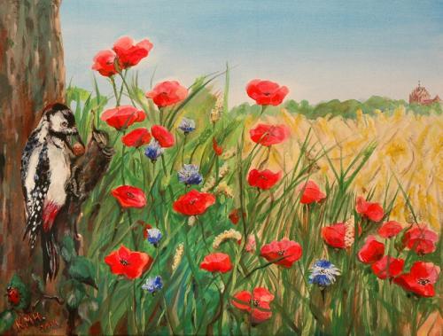 'Klatschmohn - Ein Feld nahe der Linumer Kirche' von  Karla Maria Hinze