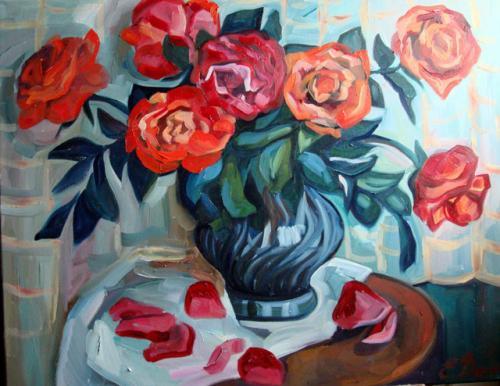 Rosen in der blauen Vase