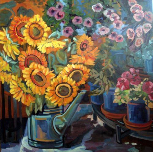 Sonnenblumen auf der Terasse