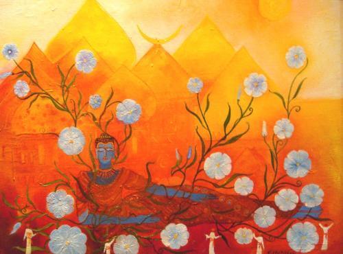 Buddha und Blüten