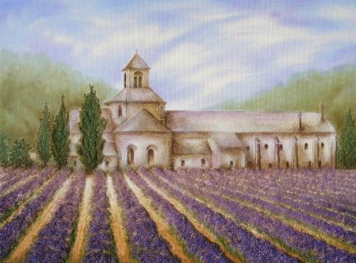'Lavendelfeld am Kloster' von Sandmalerin