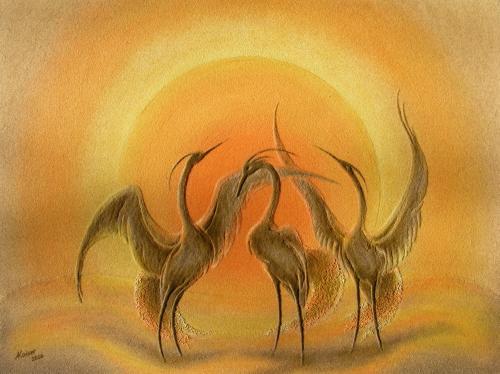 'Kraniche im Sonnenlicht' von  Sandmalerin