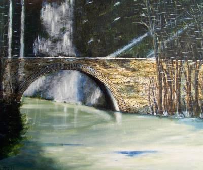 Eine Brücke mit Licht