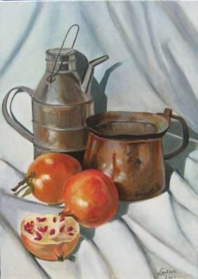 Metallgeschirr m. Granatäpfeln