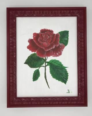 Rote Rose inkl. Holzbilderrahmen