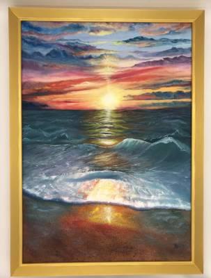 Sonnenuntergang inkl. Holzbilderrahmen