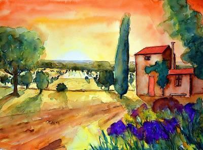 Sonnenuntergang bei Sault, Provence