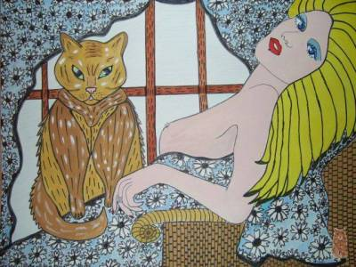 blond nude with cat