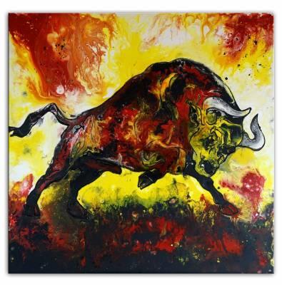 Wandbild Wilder Stier abstrakt rot gelb - Tier Malerei Gemälde