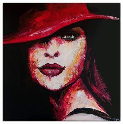 Modernes Porträt Frau Gesicht Hut rot - Malerei Menschen Acrylbild