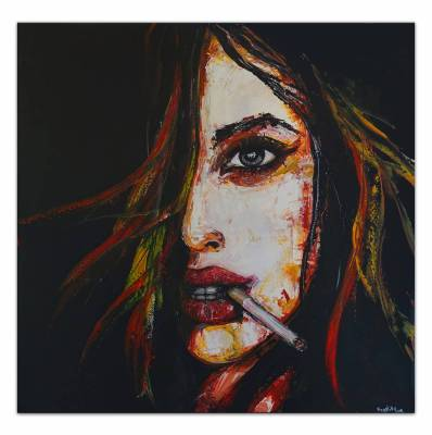 Wandbild Frau mit Zigarette - Gesicht  Malerei Acrylbild Gemälde