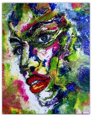 Malerei Porträt Frau abstrakt Gesicht Acrylbild Fluid Art Pouring