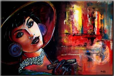 Retro Vintage Frauen Portrait Moderne Kunst 80x120 Malerei Frau