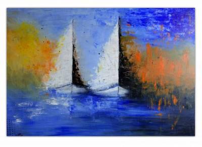 Segelboote im Sturm abstrakt - Moderne Malerei, Maritimes Gemälde