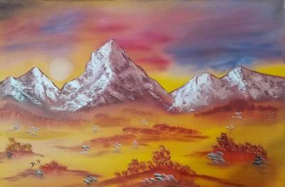 Wüste und Berge in der Abendsonne