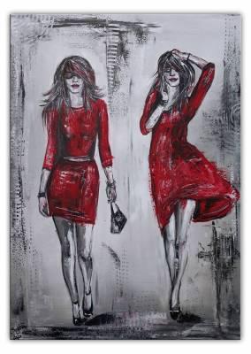 2 Ladys Frauen - rote Kleider  - Malerei -  Acrylbild  - Gemälde Unikat