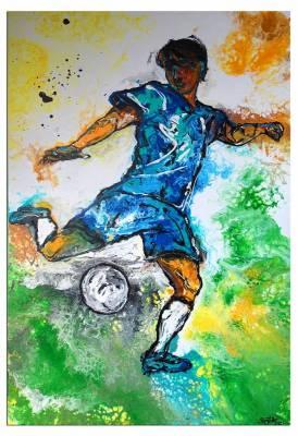 Abstoß 1 - Fußballer  Spieler abstrakte Malerei Fluid Art