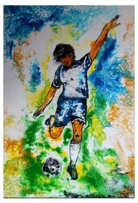 Abstoß Fußballspieler -  Original Gemälde -  handgemaltes Acrylbild