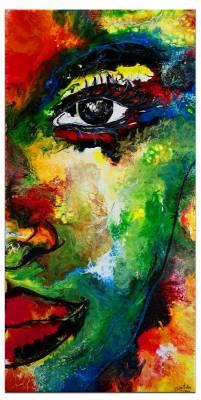 Abstrakte Malerei Porträt Gesicht -  handgemaltes Wandbild - Roter Mund