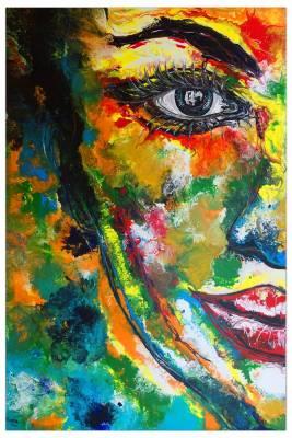 Abstraktes Gesicht bunt -  Porträt Malerei Wandbild