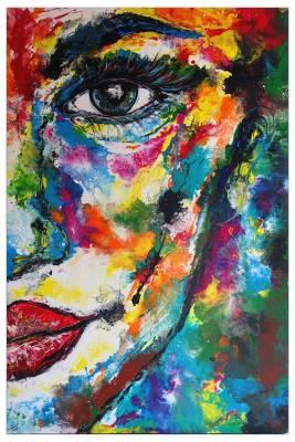 Abstraktes Porträt -  Gesicht Malerei  - Acrylgemälde Fluid