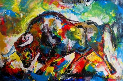 Angriff Wandbild wilder Stier - Bulle bunt gemalt - abstraktes Kunst Bild