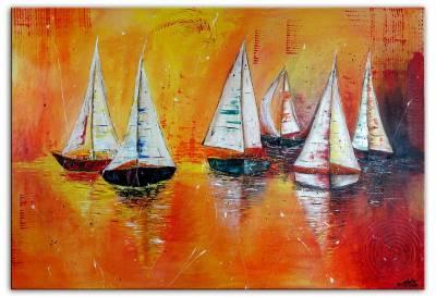 Segelboote - maritimes Gemälde - Sonnenuntergang