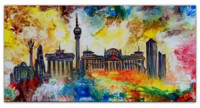 Berlin abstrakt gemalt Studio Bild Fernsehturm  - Siegessäule Brandenburger  Tor