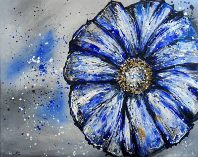 Blume abstrakt - Blau - Florales Gemälde