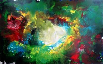 Costa Rica Wandbild -  Abstrakte Malerei - Fluid Art