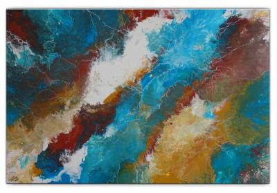 Delta abstraktes Leinwandbild -  Wandbild blau braun - Original