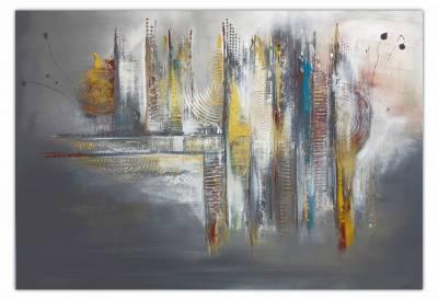 Dripping Gold - abstraktes Wandbild - Leinwandbild - beige grau