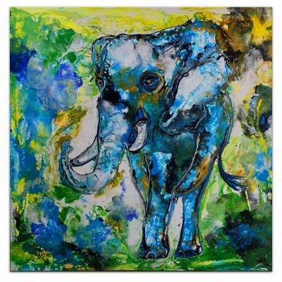 Elefanten Wandbild Tiermalerei -  Modernes Kunstbild -  Leinwandbild