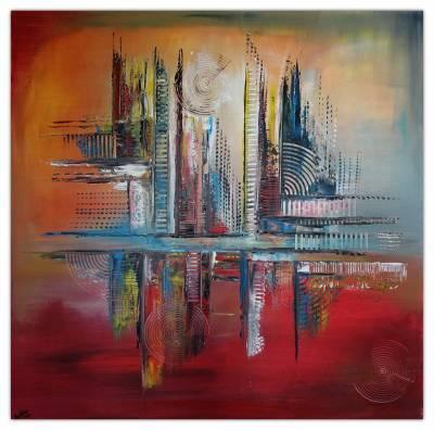 Emperial abstrakte Malerei Leinwandbild Wandbild Kunstbild Gemälde Acrylbild 100x100