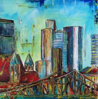 Frankfurt 80ger Jahrer Skyline - abstrakt Stadtbild Gemälde