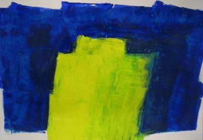 Grüngelb Blau umrandet