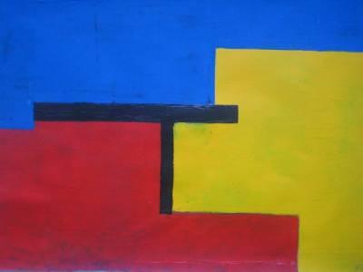 Blau-Gelb-Rot dreigeteilt