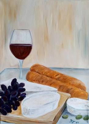 Käse, Wein und Oliven I