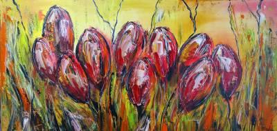 Tulpen BLumen B -  Wandbild Acrylbild  - Künstlerbild