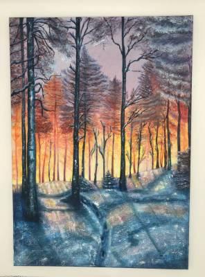 Sonnenaufgang im Winterwald, Öl auf Leinwand