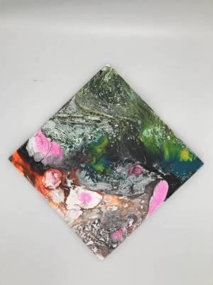 Rosa-Akzente, abstaktes Bild, 30x30