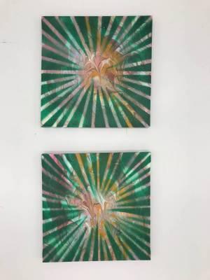 Spinnennetz, Acryl auf Leinwand, 2 Bilder