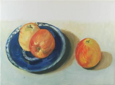 Zwei Äpfel und ein Apfel