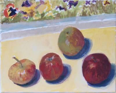 4 Äpfel mit Stiefmütterchen