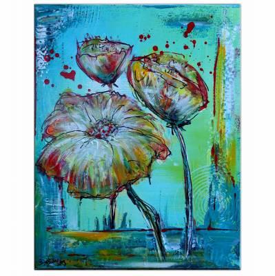Blumen Wandbild blau