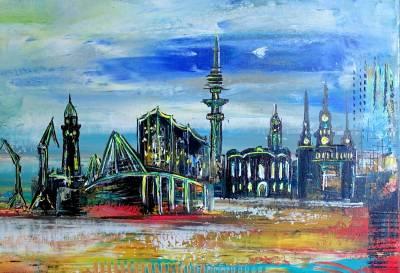 Hamburg - abstraktes Wandbild